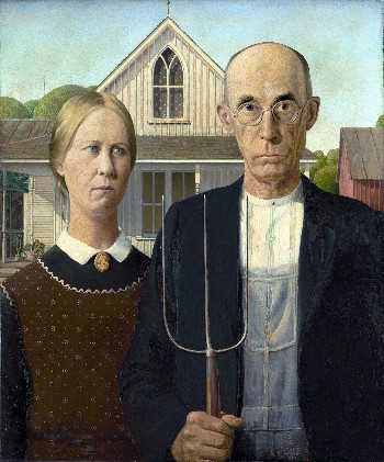 Taurus archetype: American Gothic. Painting by Grant Wood, 1930.